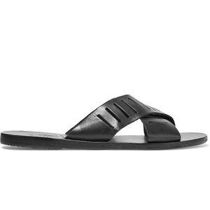Ancient Greek Sandals Woman Thais Column Laser-cut Leather Slides Black Size 36 Ancient Greek Sandals FMPFva7